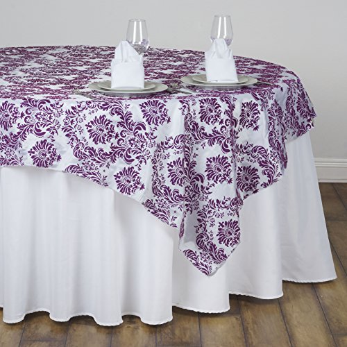 BalsaCircle 90x90-Inch Eggplant Purple on White Damask Flocking Table Overlays - Wedding Reception Party Table Linens Decorations (Eggplant Tablecloth Damask)
