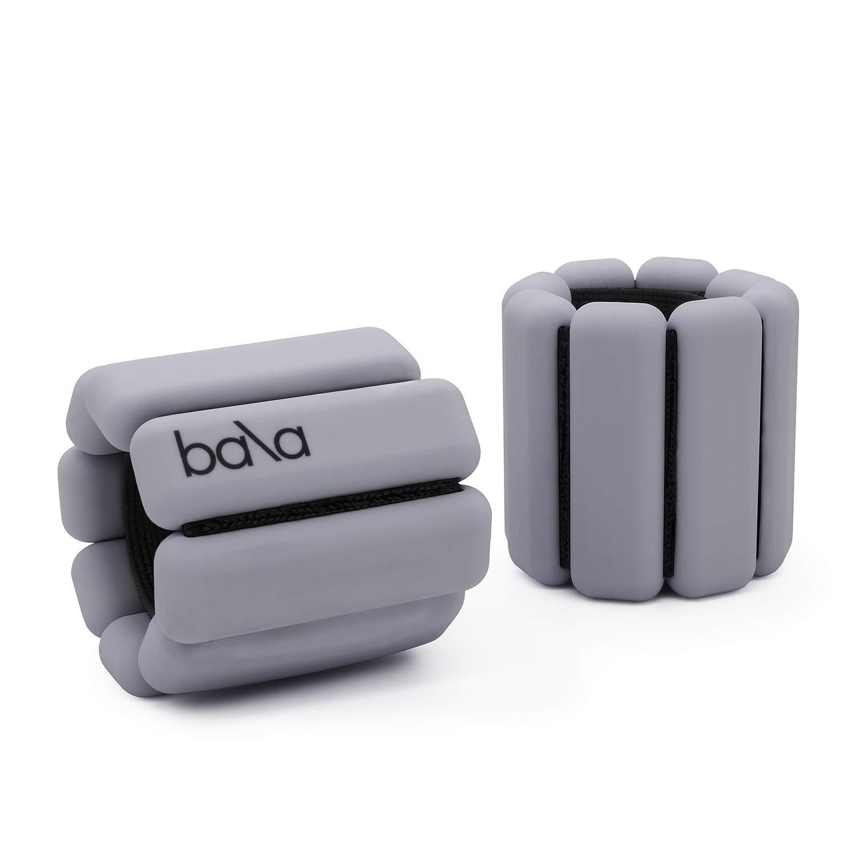 Bala Bangles   Fully Adjustable Wearable Wrist & Ankle Weights   Yoga, Dance, Running, Barre, Pilates, Cardio, Aerobics, Walking   1 Pound Each, 2 Per Set (Heather Grey)