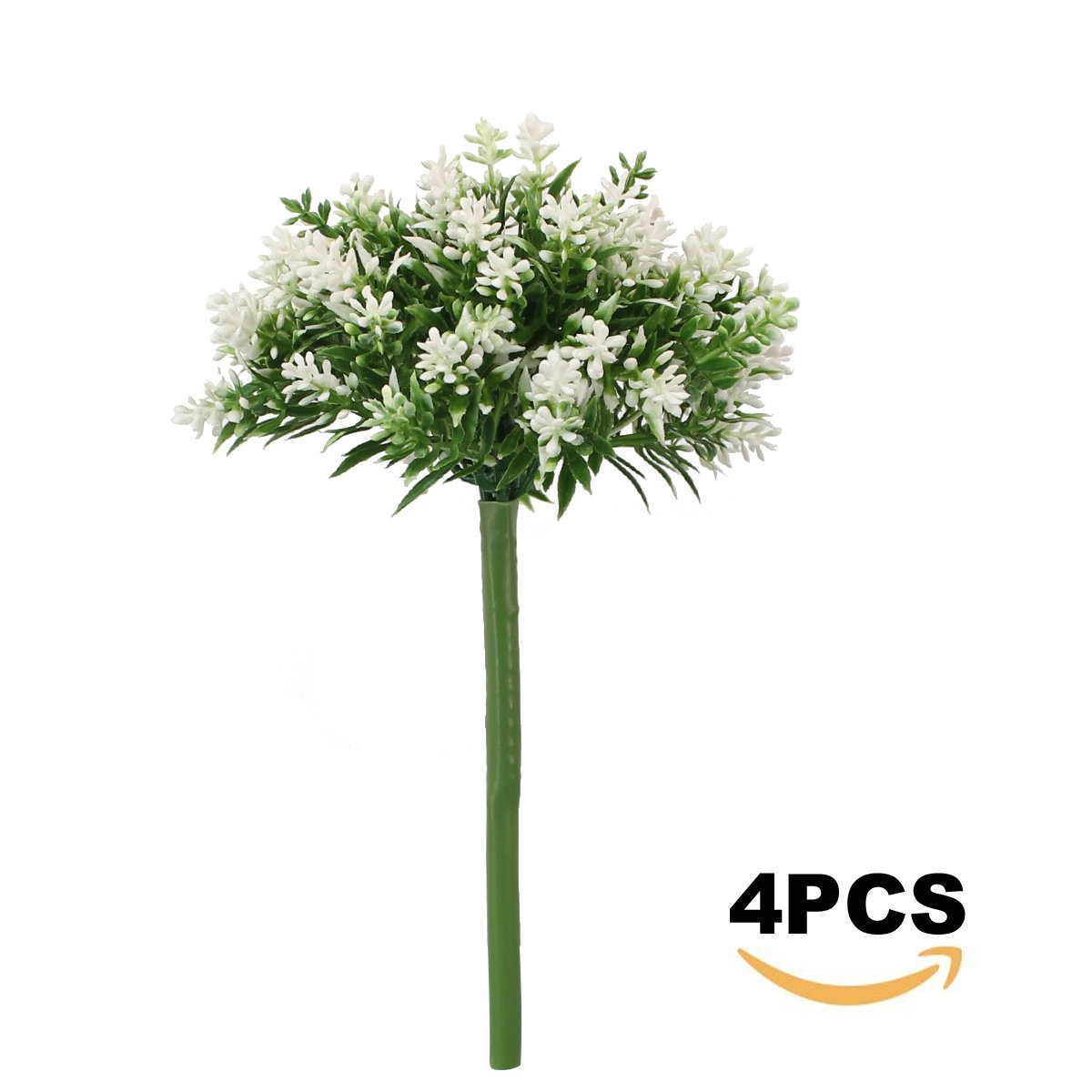 Greatflower Pack of 4 Plastic Artificial Flower Bouquet for Garden or Home Decoration