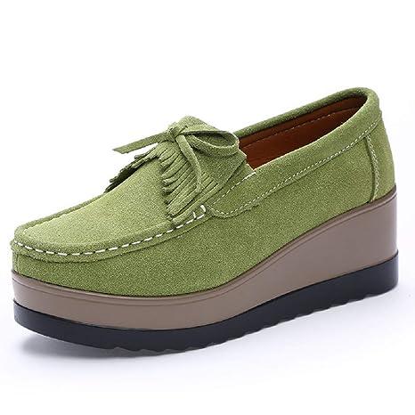 Qiusa Zapatos Bowknot Plataforma de Cuero Borla Mujer Mocasines Casaul (Color : Verde, tamaño