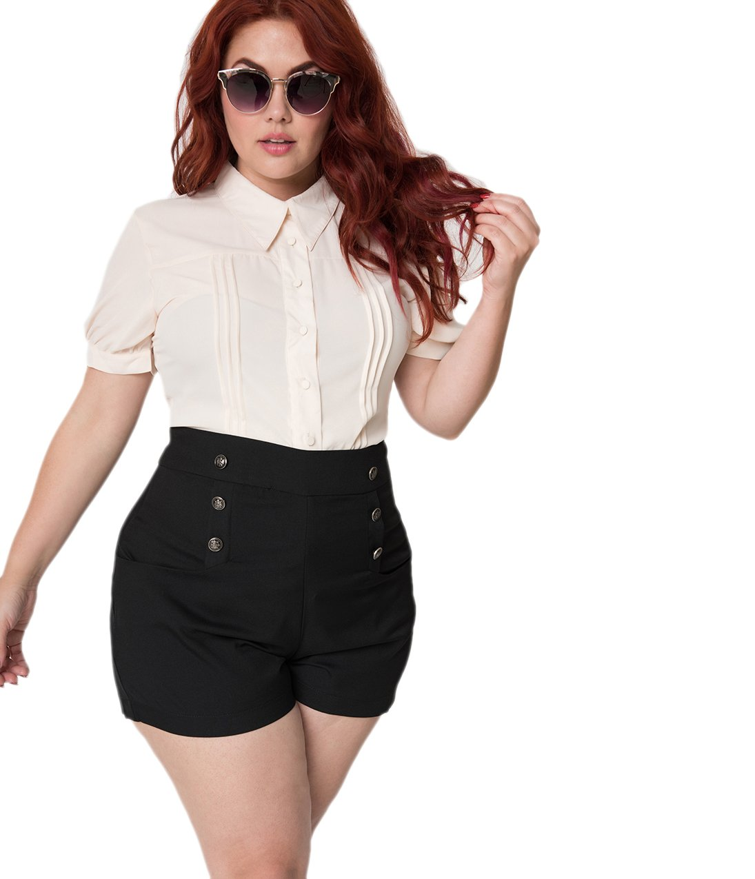 Unique Vintage Plus Size 1940s Style Black High Waist Sailor Debbie Shorts