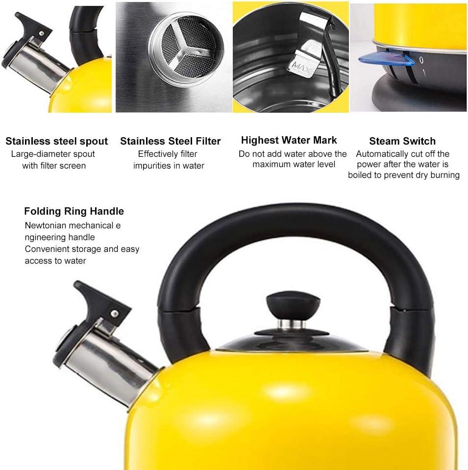 2L 1500W fischio bollitore elettrico XYY Bollitore Elettrico Giallo Spegnimento Automatico allebollizione con protezione Boil-dry BPA Free