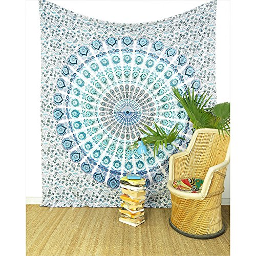 Eyes of India - Large Queen White Blue Indian Elephant Mandala Tapestry Hanging Picnic Bohemian Boho