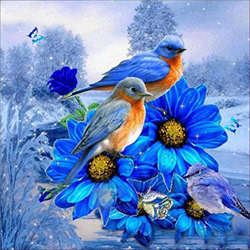 Neartime Clearance! Bird+Flower Drilling Painting, 5D Full Diamond Landscape Embroidery Home Decor Art Cross Craft Stitch (30