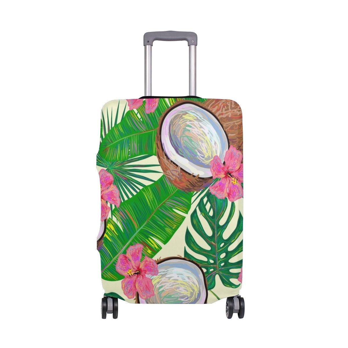 suabo旅行荷物カバーFits 18 – 20インチスーツケースwith Coconutsと花プリントスーツケースカバー L 26-28 in  B07FS9PM7F