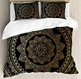 Big buy store Mandala Duvet Cover Set, Eastern Tribe Themed Circular Flower Ornamental Meditation Symbol, Decorative 4 Piece Bedding Set with 2 Pillow Covers, Dark Pine Green and Mustard(Twin)