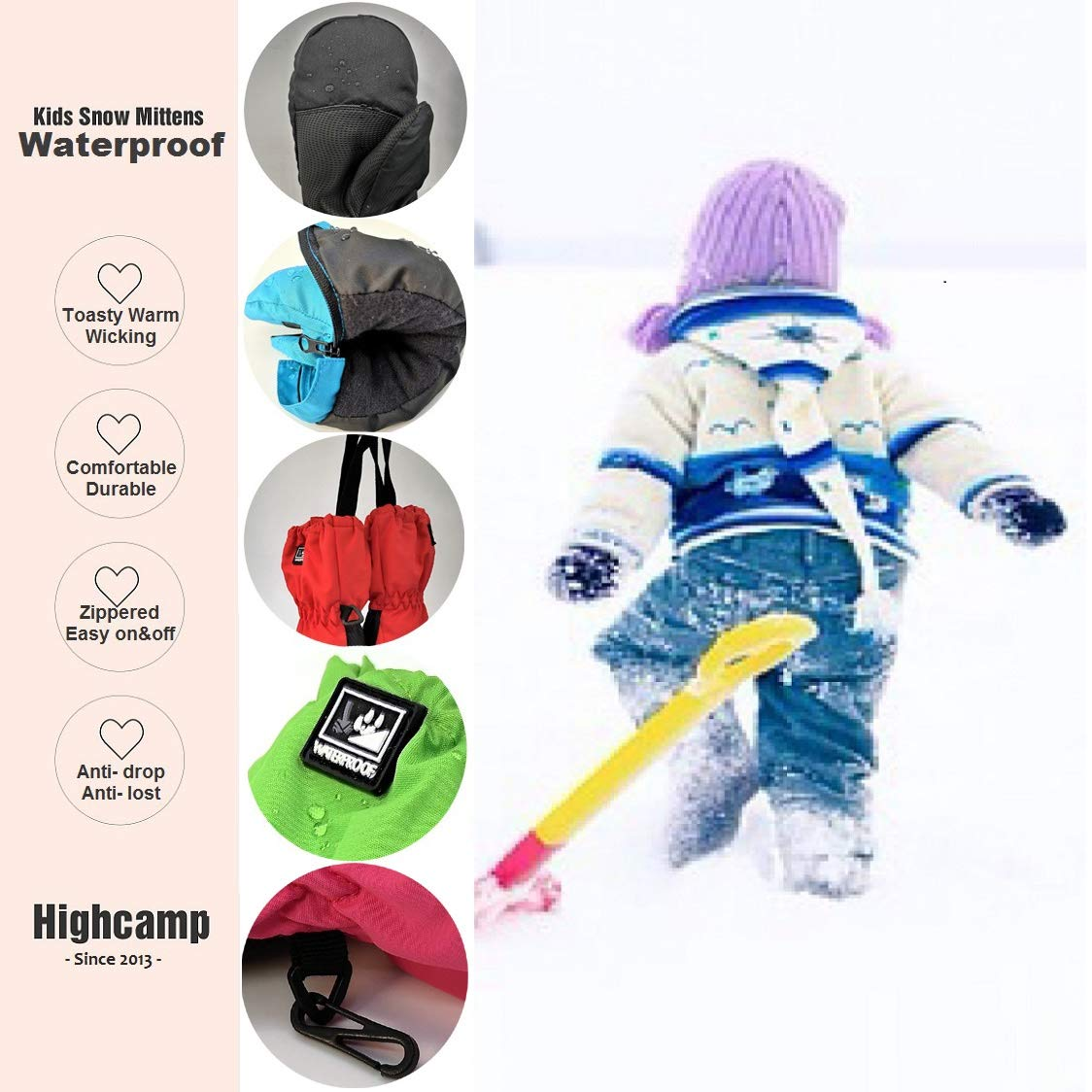 Kids Winter Waterproof Ski Snow Mittens Warm with Zipper for Toddler Boys Girls