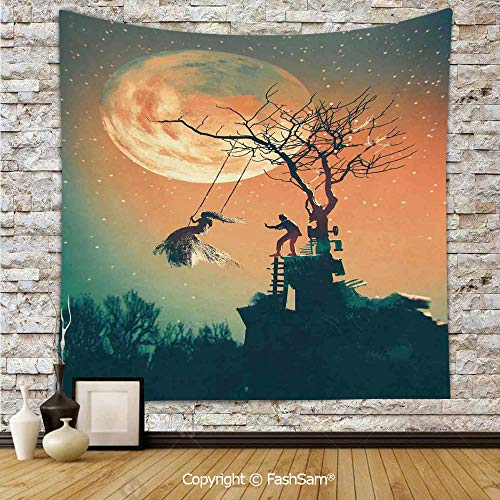 FashSam Polyester Tapestry Wall Spooky Night Zombie Bride and Groom Lady on Swing Under Starry Sky Full Moon Hanging Printed Home Decor(W51xL59)]()