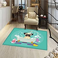 Nursery Bath Mat for tub Pug Dog in Bathtub Grooming Salon Service Shampoo Rubber Duck Pets in Cartoon Style Image Customize Bath Mat with Non Slip Backing 24x36 Teal