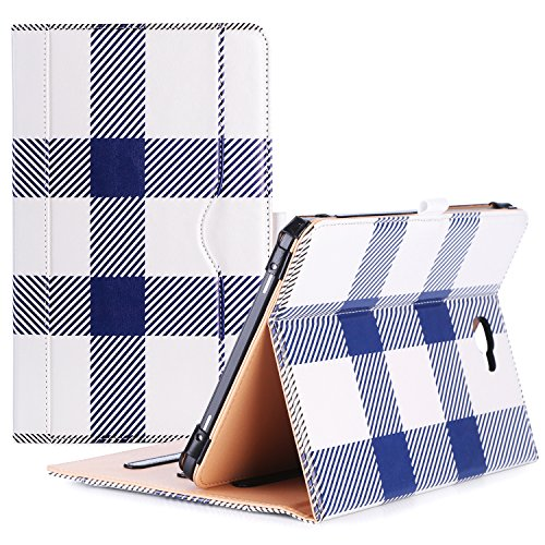 ProCase Galaxy Tab A 10.1 Case 2016 Old Model, Stand Folio Case Cover for Galaxy Tab A 10.1 Tablet SM-T580 T585 T587 (NO S Pen Version) with Multiple Viewing Angles, Card Pocket -Plaid