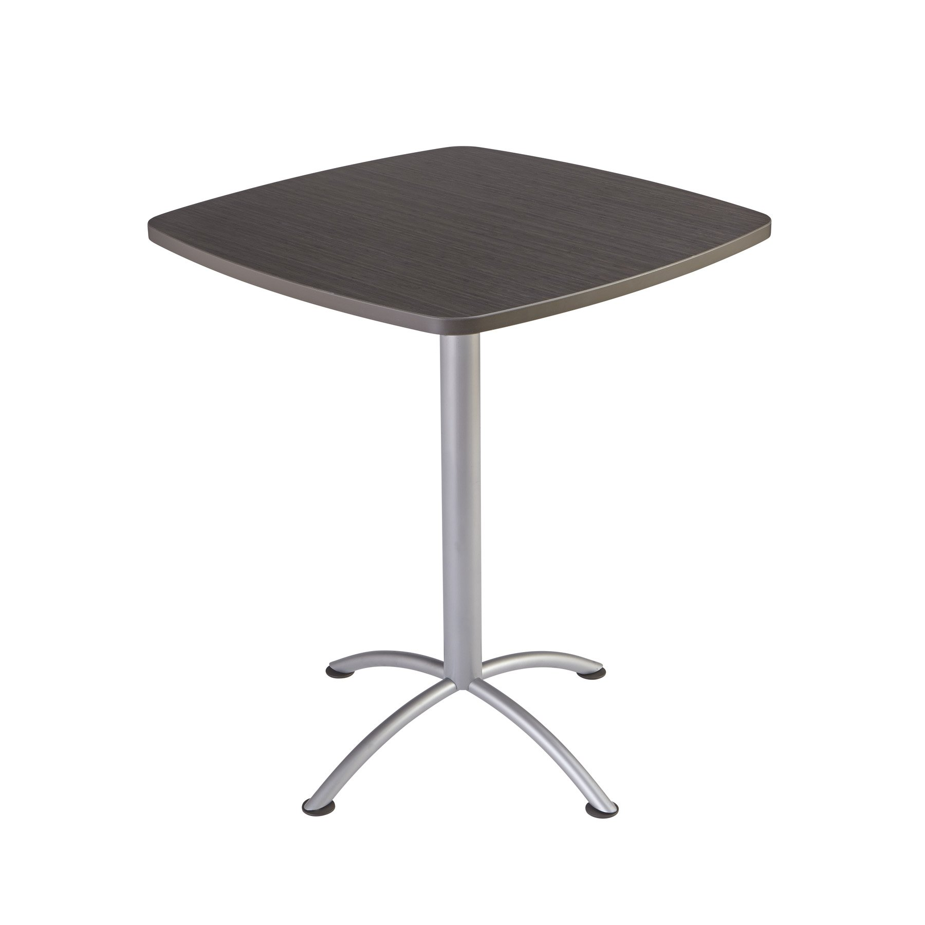 Iceberg 69754 iLand Meeting/Conferencing Table, Edgeband, 36'' Square, 42'' Height, Gray Walnut, Silver Base