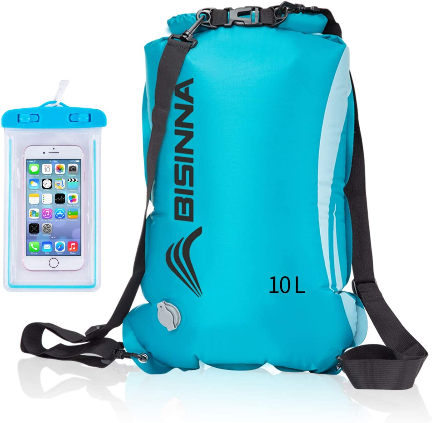 BISINNA Floating Waterproof Dry Bag 10L//20L Dry Wet Separation Roll Top Dry Compression Sack Keeps Gear Dry for Kayaking//Rafting//Boating//Swimming//Camping//Beach//Fishing with Waterproof Phone Case