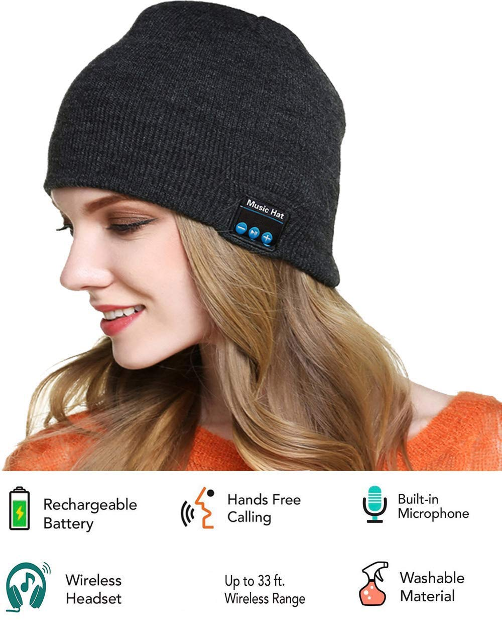 bc72cf28993 Amazon.com  Bluetooth Beanie Hat Headphones Upgraded V4.2 Wireless Smart  Beanies Headset Winter Music Hat Knit Cap with Built-in Stereo Speaker  Unique ...