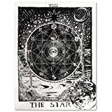 """Uphome Tarot Zodiac Tapestry, Antique Psychedelic Black Starry and Moon with River Around The Constellation Map Wall Hanging- Light Weight Polyester Fabric Wall Art Decor (51"""" H x 60"""" W, The Star)"""