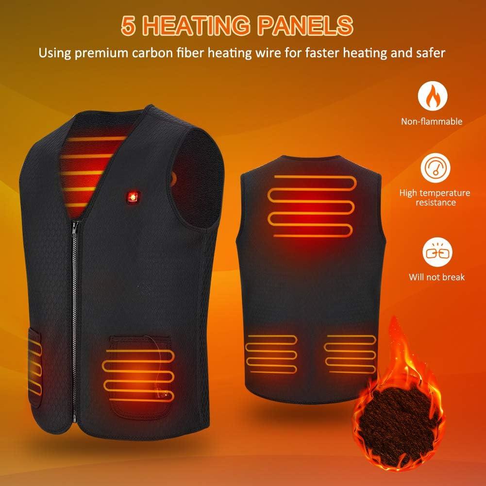 Gilet di Riscaldamento Elettrico Leggero da 5 V per Uomo e Donna Giacca scaldino Ricaricabile per Escursioni allaperto Campeggio Haofy Gilet Riscaldato USB Motocicletta Caccia