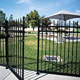 XCEL - Black Steel Anti-Rust Fence Gate - Sharp End Pickets - 4ft W x 5ft H - Easy Installation Kit, for Residential, Outdoor, Yard, Patio, Entry Way, on Soil or Concrete, 3-Rail Metal Gate