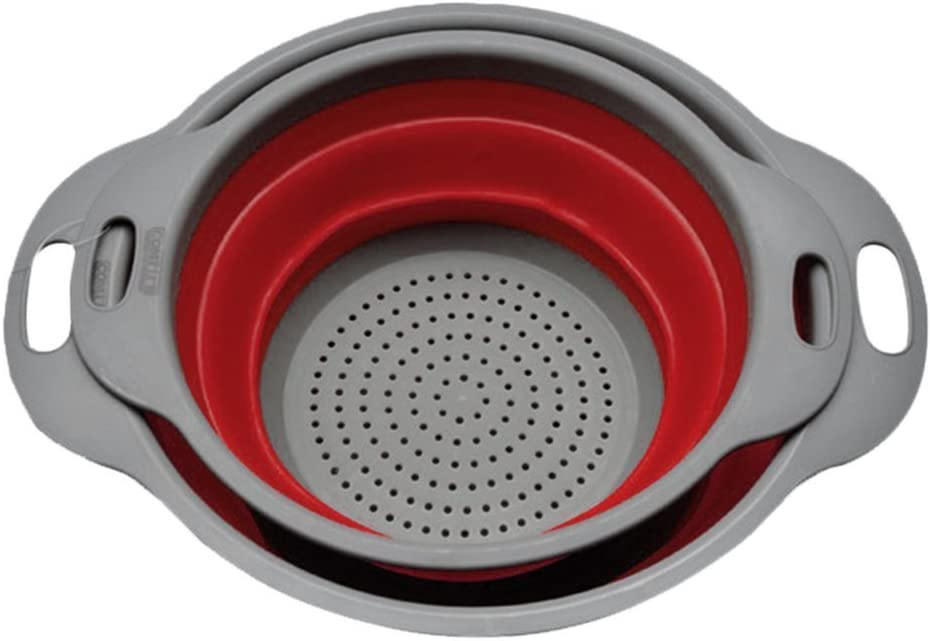 Lavaggio Asciugatura setaccio per Cucina casa Decorazione DDGE DMMS 2PCS//Set Filtro Netto scolapasta Pieghevole in Silicone