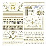 Temporary Boho Metallic Henna Tattoo - 6 Sheet Jewelry Inspired Tattoo Sticker Kit for Vibe Music Festivals Bohemian Coachella/Summer/Wedding/Beach for Women & Girls Design in Gold and Silver(Jewelry)