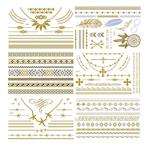 Temporary Metallic Henna Tattoo - 6 Sheet Jewelry Inspired Tattoo Sticker Kit for Summer/Wedding/Beach for Women & Girls Design, in Gold and Silver(Jewelry)