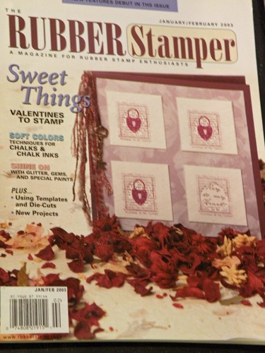 THE RUBBER STAMPER magazine January / February 2003 (For Rubber Stamp Enthusiasts - Projects, Techniques for Chalks & Chalk Inks, Stamped Cards With Glitter & Gems & Special Paints, Using Templats with Die-Cuts, Stamps & Stamping Making Cards cardmaking, Volume 7, No. 1)