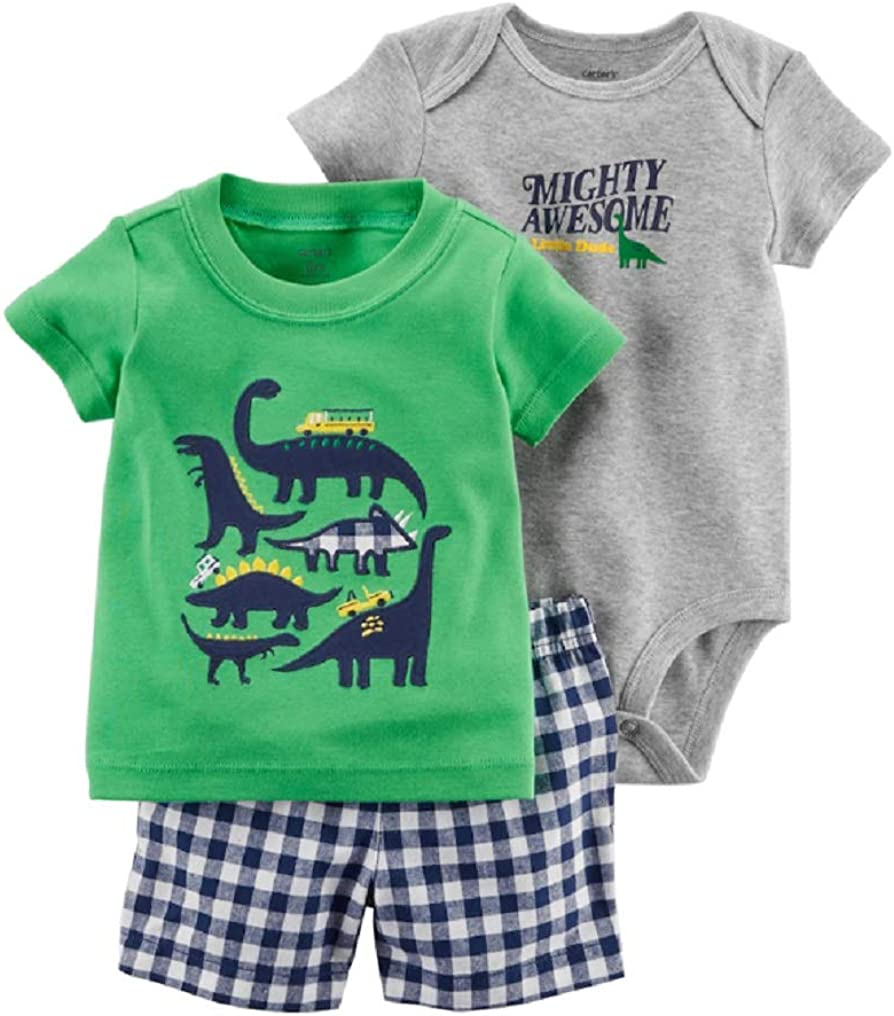Carters Baby Boy Dinosaur Tee Mighty Awesome Bodysuit /& Checkered Shorts Set