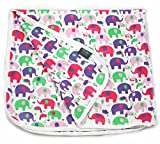 Viverano Organic Cotton Soft Reversible Baby Blanket. Natural Receiving Blankets (Multicolor Elephants)