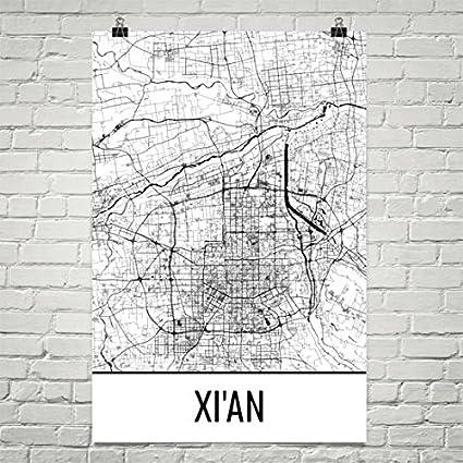 Amazon.com: Xi\'an Map, Xi\'an Art, Xi\'an Print, Xi\'an China Poster ...