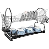 """2-Tier Dish Rack and DrainBoard 22"""" x15 x 10"""" Kitchen Chrome Cup Dish Drying Rack Tray Cultery Dish Drainer"""