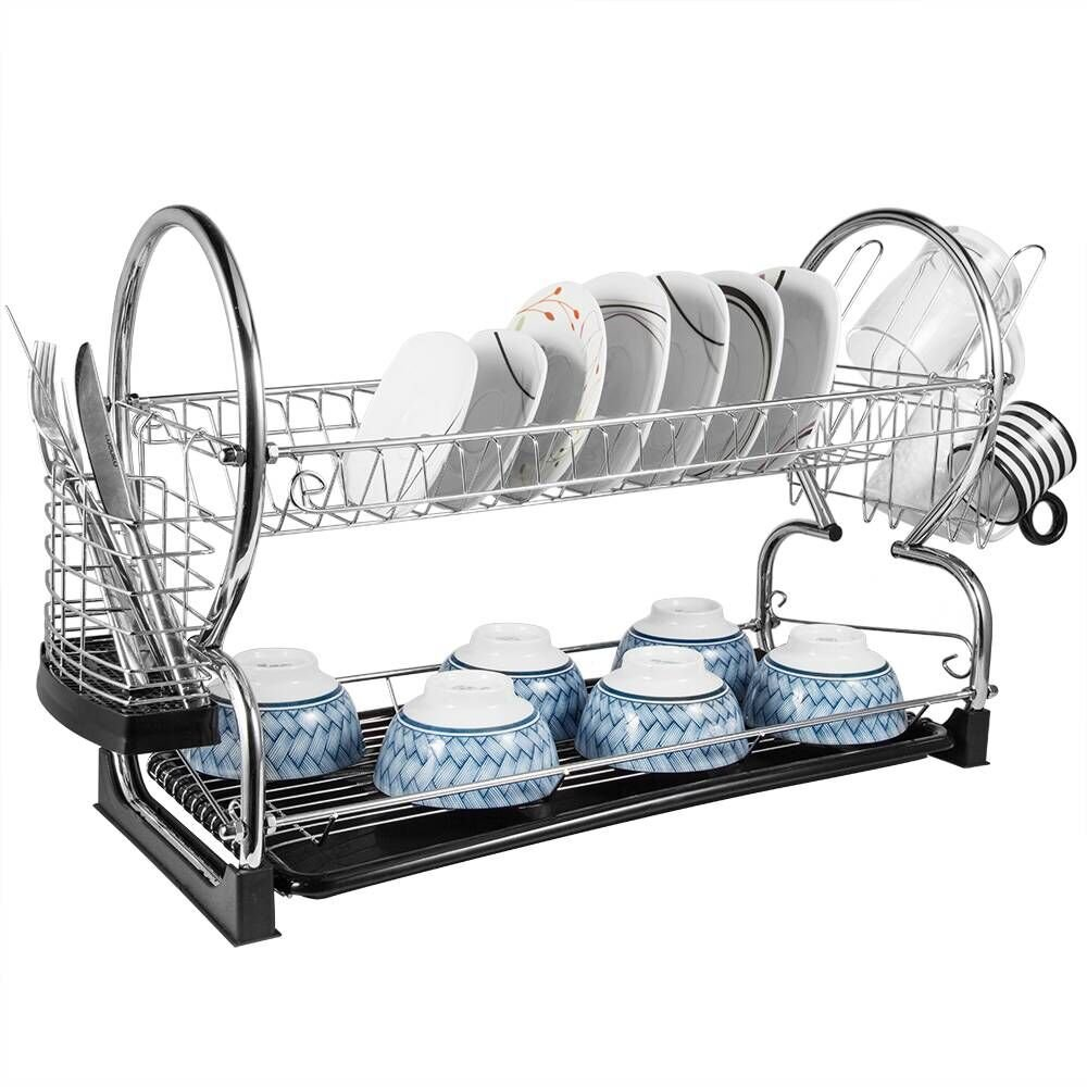 """2-Tier Dish Rack and DrainBoard 17"""" x15 x10"""" Kitchen Chrome Cup Dish Drying Rack Tray Cultery Dish Drainer"""