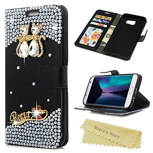 S7 Edge Case - Maviss Diary 3D Handmade Wellet PU Leather Flip Cover Bling Cute Cat Love Sparkle Glitter Diamond with Magnetic Clasp Card Holders for Samsung Galaxy S7 Edge - Black