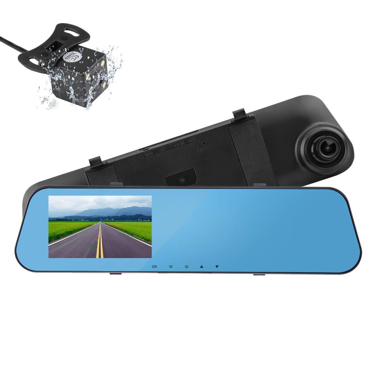 KIMISS 4,3 Zoll Auto DVR Dual Lens Rückspiegel Kamera Video Recorder