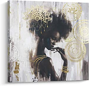Pi Art African American Wall Art, Gold and Black Woman Girl Canvas Print Wall Painting for Bedroom and Living Room (24x24 inch, A Framed)
