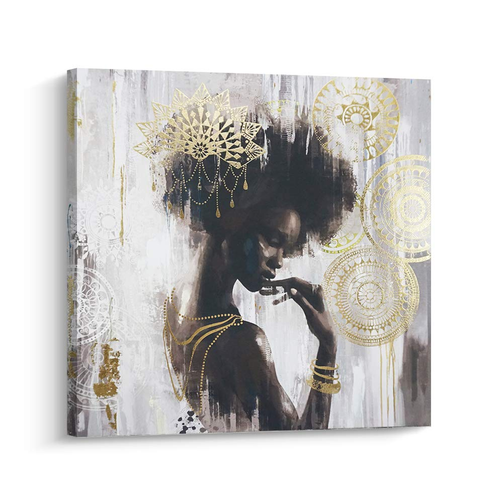 Pi art african american canvas wall art gold and black women portrait wall decor for living room and bedroom 32x32 inch a framed