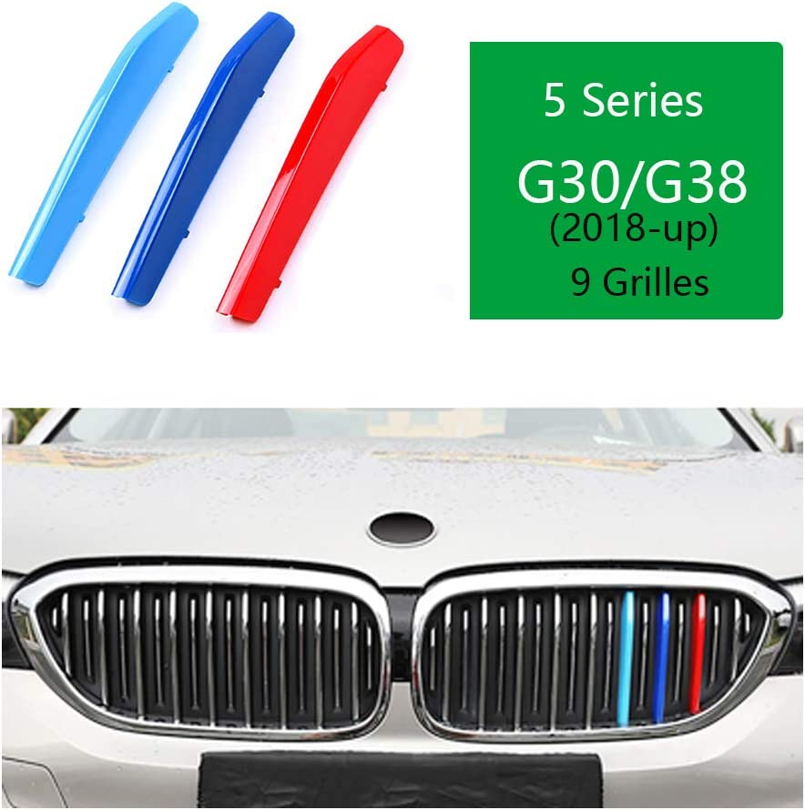 //////M-Colored Stripe Grille Insert Trims Front Grill Stripes Covers For 2004-2010 BMW E60 5 Series 525i 528i 530i 535i 540i 545i 550i M5 Front Center Kidney Grilles 11 Beams