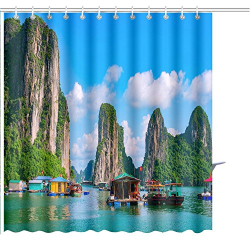YGUII Shower Curtain Floating Fishing Village and Rock Island in halong Bay Vietnam Southeast Asia UNESCO World Graphic Print Polyester Fabric Bathroom Decor Sets with Hooks 72 x 72 Inch(180x180cm