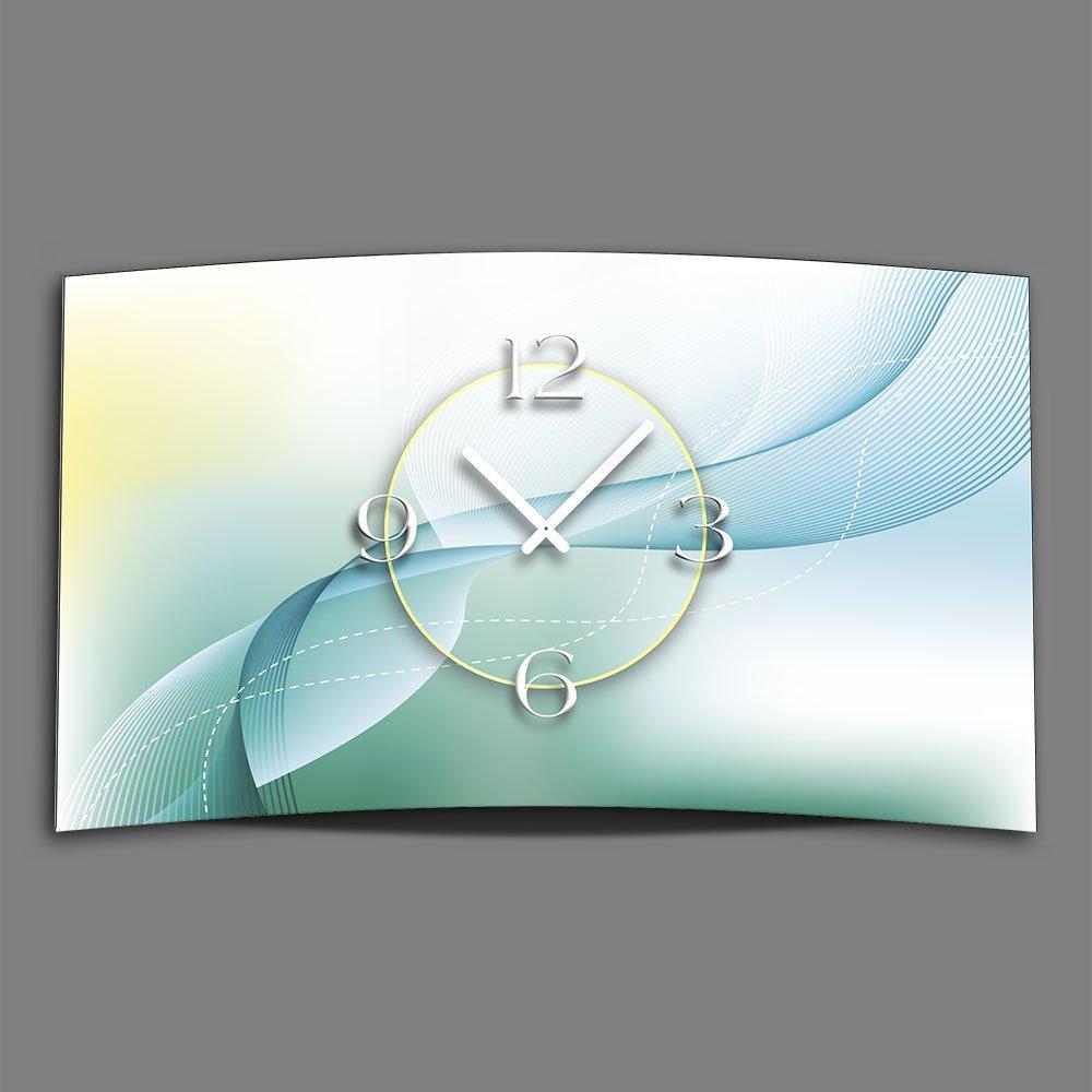 Abstrakt mint petrol Designer Wanduhr modernes Wanduhren Design leise kein ticken dixtime 3D-0142