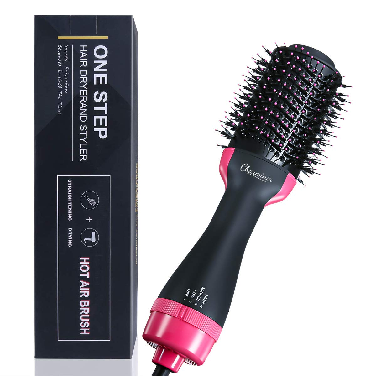 CHARMINER One Step Hair Dryer and Volumizer, Negative Ion Generator Hair Curler Brush for Dry, Straighten and Curling, Hot Air Styling Brush to Smooth Frizz with Negative Ionic Technology for Women by CHARMINER