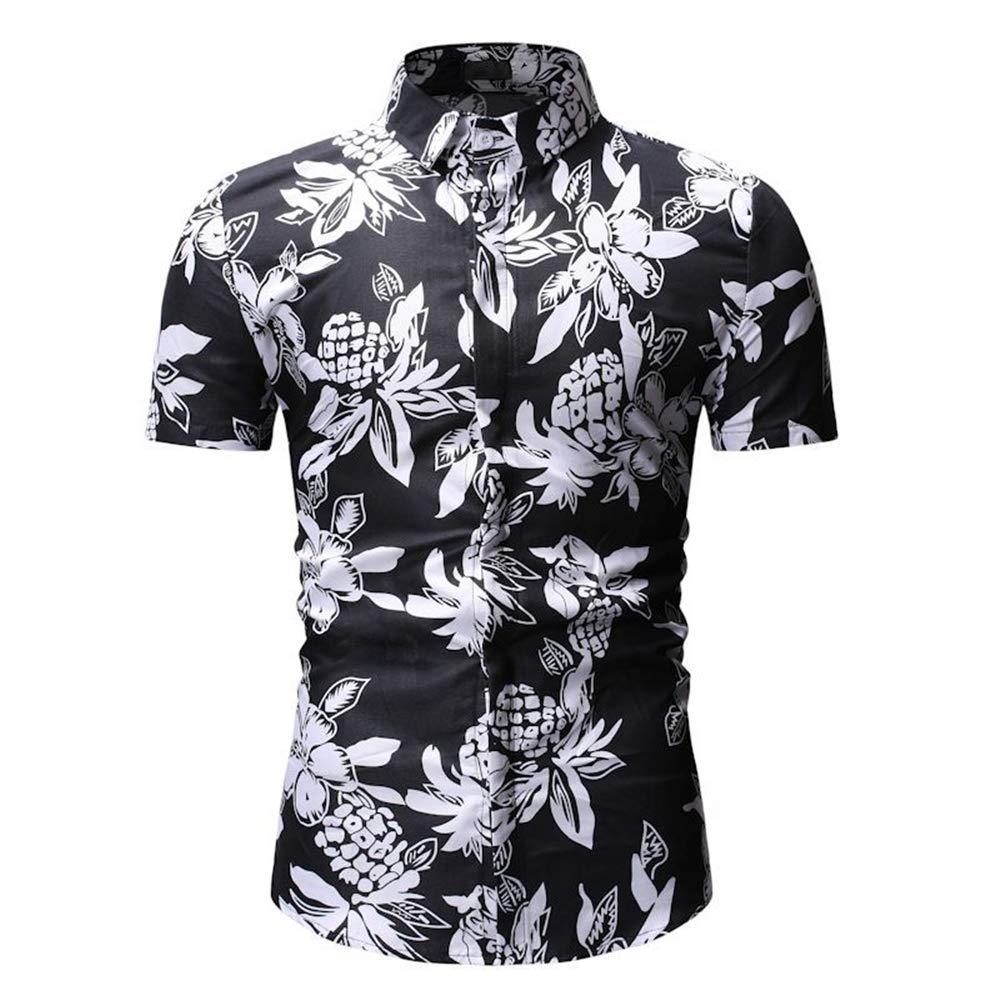 Short Sleeve Shirt Casual Business Fashion Print Shirt Hawaii Beach Shirt for Men