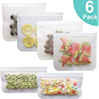 Reusable Storage Bags - 6 Pack BPA FREE Freezer Bag(4 Reusable Sandwich Bags & 2 Reusable Snack Bags) - EXTRA THICK Ziplock Bag Leakproof Lunch Bag for Food Storage Home Organization Eco-friendly
