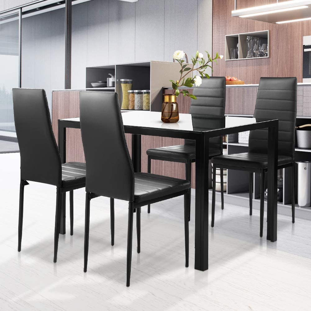 Amazon Com Dklgg Kitchen Table And Chairs Modern Style With Glass Table Top Small Space Dining Table Set For 4 Black Table Chair Sets