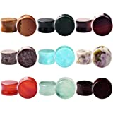 """9 Pairs Natural Stone Ear Expanders Tunnels Plugs Gauges 2G-5/8"""""""