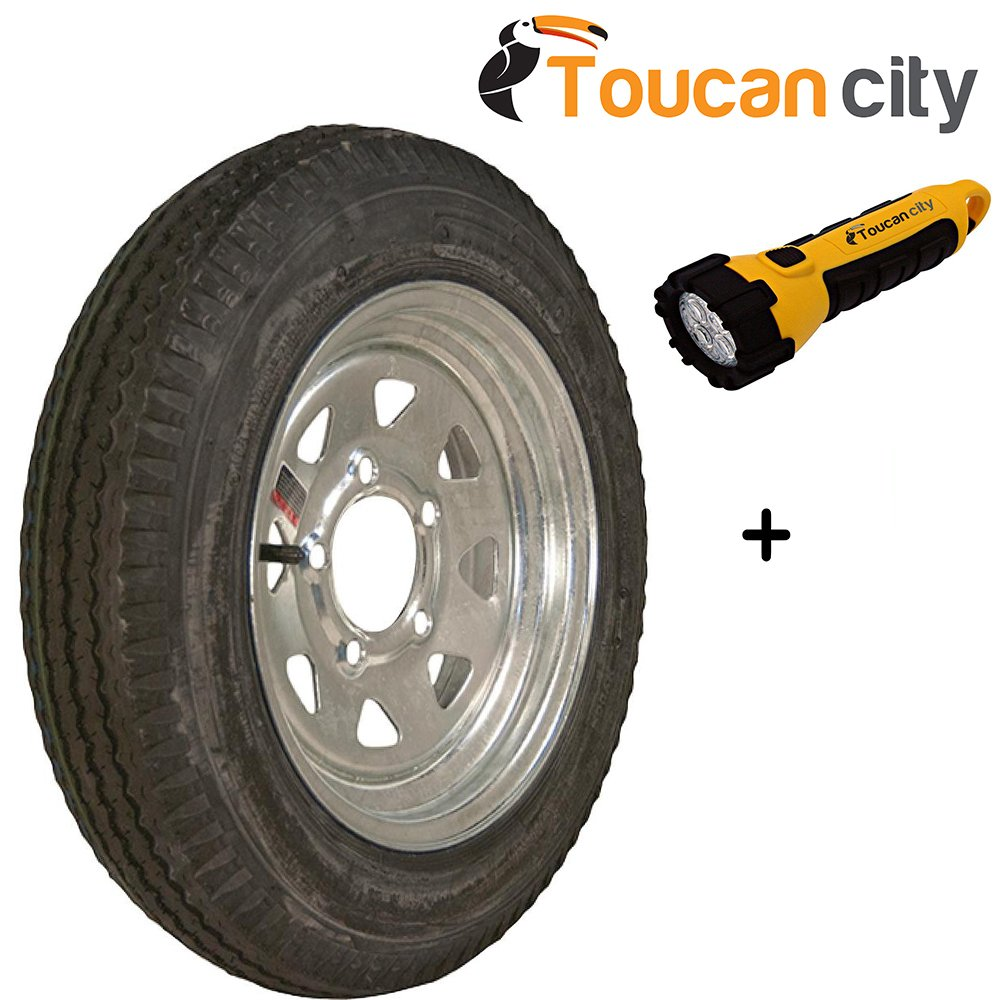 Loadstar 480-12 K353 BIAS 780 lb. Load Capacity Galvanized 12 in. Bias Trailer Tire and Wheel Assembly 30520 and Toucan City LED flashlight