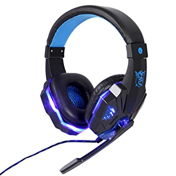 JUHALL PS4 Gaming Auriculares, Gaming Headset con USB/Conector Jack de micrófono LED Efecto para PC Xbox One película Gaming Jugar Chat Música.