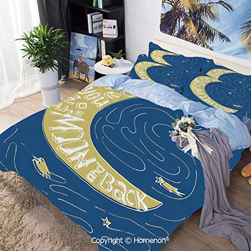 Bedding Sheets Set 3-Piece Bed Set,Crescent Moon Maze with Comet Stars Swirls Celebration Birthday Print,King Size,Include 1 Quilt Cover+2 Pillow case,Violet Blue Yellow