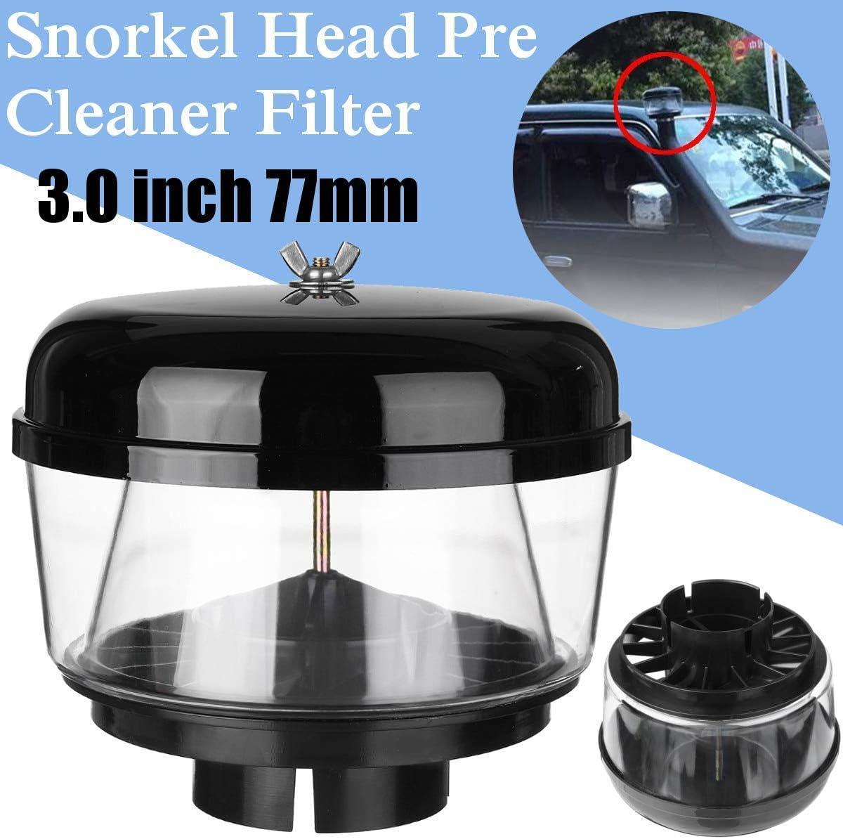 Tiamu 3 Pulgadas 77Mm Trampa de Agua Cabeza de Snorkel Cabeza de Ram de Aire Prefiltro de Flujo de Aire Cabeza de Snorkel de Coche Copa de Arena de Ram de Snorkel para Nissans