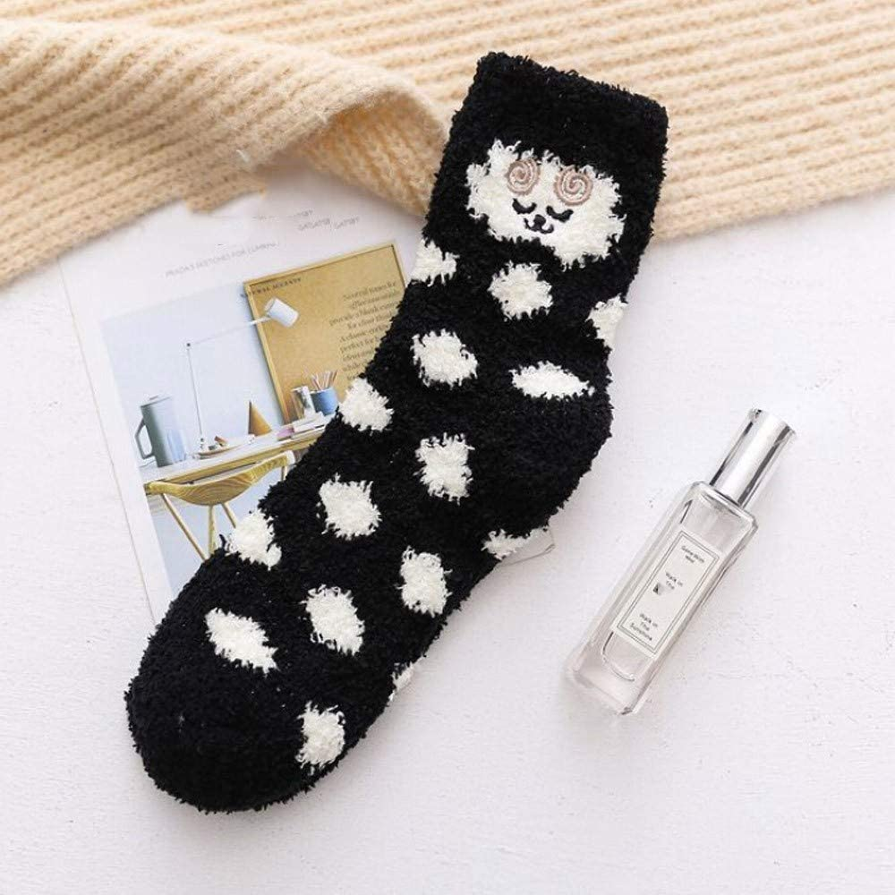 Women Socks Oldeagle Women Thick Heavy Winter Warm Crew Dot Animal Print Soft Socks