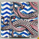 BINGO FLAG Funny Fabric Shower Curtain Octopus Waterproof Bathroom Decor With Hooks 60 X 72 Inch
