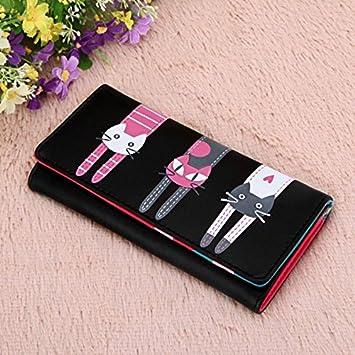 Cartera Gatos Cartera Pochette Puerta Folio para mujer niña regalo gato negro: Amazon.es: Electrónica
