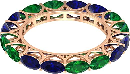 Classic Full Eternity Ring, 2.8Ct5X3mm Blue Sapphire Wedding Ring, 2Ct Oval Shape Emerald Ring, Alternate September Birthstone Ring, Anniversary Ring, 14K Gold