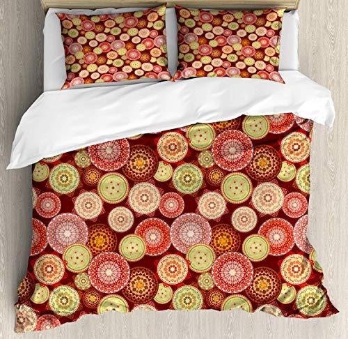 (Medallion Duvet Cover Set King Size,Arabesque Style Pattern With Colorful Circular Folk Elements Floral Motifs Design,Bedding Cover Set 100% Cotton Boys Girls For Children)
